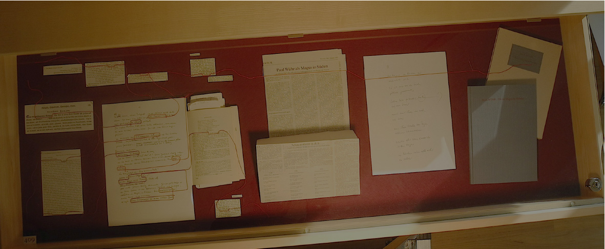 Abb. 12: Schubfach-Vitrine mit Materialien zur intertextuellen Bezugnahme P. Wührs auf J. G. Hamann in Das falsche Buch (siehe nachfolgende Detailansicht), Luftstreiche (Rezension J. Drews), Salve res publica poetica (Manuskript), Ob der Magus in Norden (Buch) (© T. Betz)
