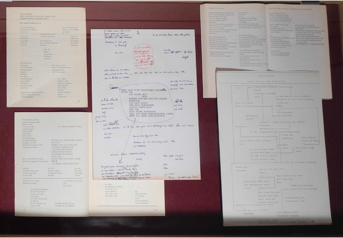 """Abb. 15: Detailansicht der Schubfach-Virtine zur textgenetischen Entwicklung der Figur Heimeran Phywa und der Figurationen """"Das Versteckspielregelspiel"""" und """"Der Todesversteckspielturm"""" in Das falsche Buch (Beschreibung s.o.) (© T. Betz)"""